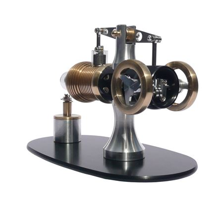 Rear view of beam Stirling Engine showing crank
